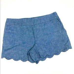Loft Shorts Linen Cotton Blend Scalloped Hem